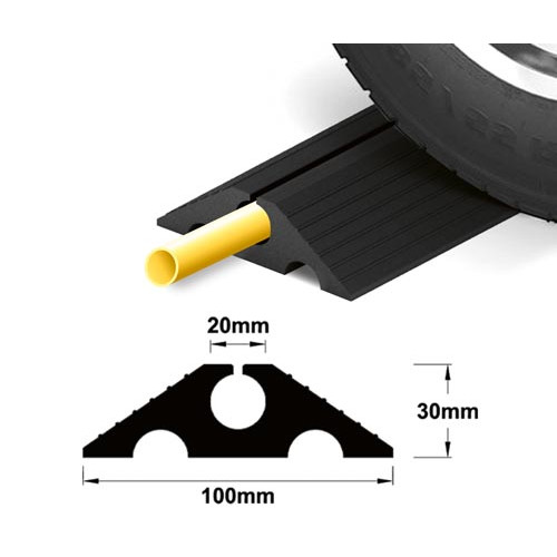 Heavy Duty Traffic Rubber Hose Protector 20mm, per metre